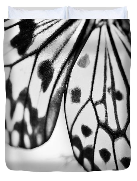 Butterfly Wings 3 - Black And White Duvet Cover