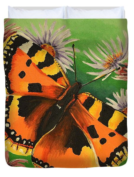 Butterfly With Asters Duvet Cover
