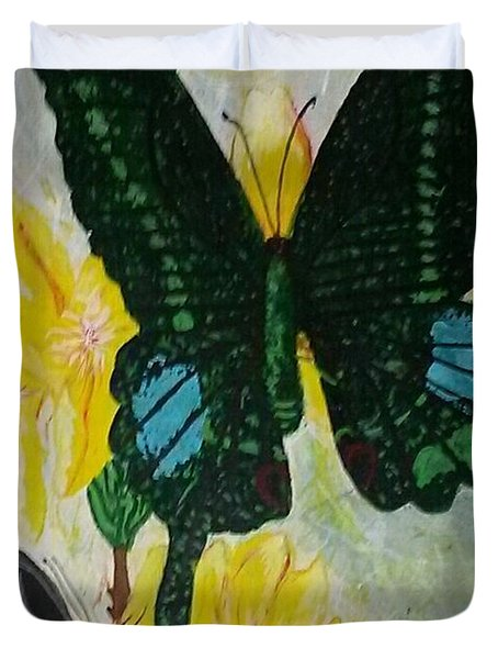 Duvet Cover featuring the painting Butterfly Wonders by Joetta Beauford