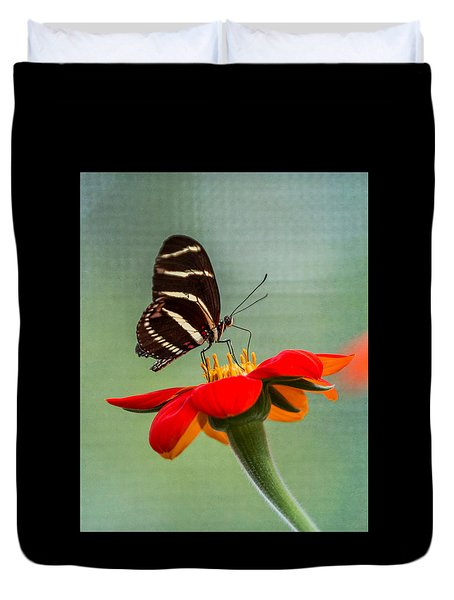 Duvet Cover featuring the photograph Butterfly Zebra Longwing On Zinnia by Patti Deters