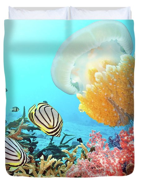 Butterflyfishes And Jellyfish Duvet Cover by MotHaiBaPhoto Prints