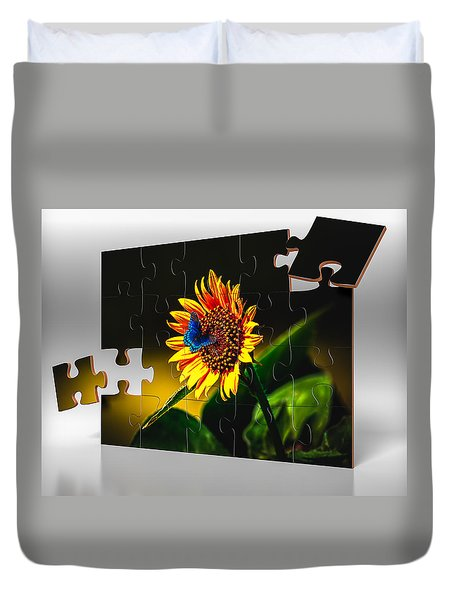 Butterflys-n-flowers Puzzle Duvet Cover by Doug Long