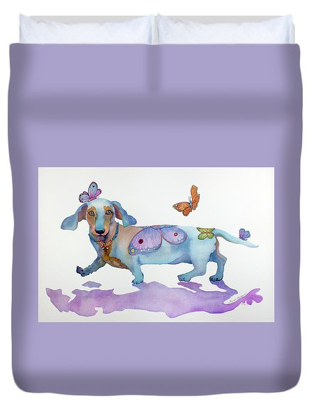Butterfly Doxie Doo Duvet Cover