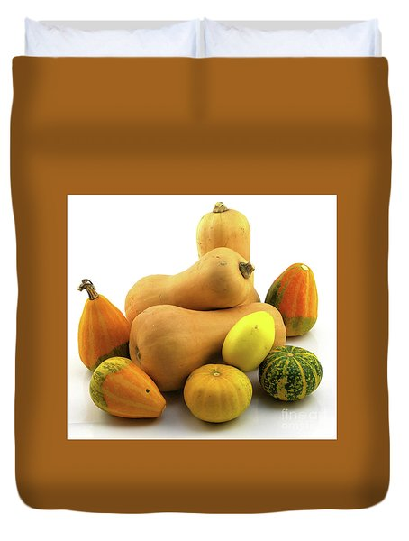 Duvet Cover featuring the photograph Butternut Squash With Gourds  by Ricky L Jones