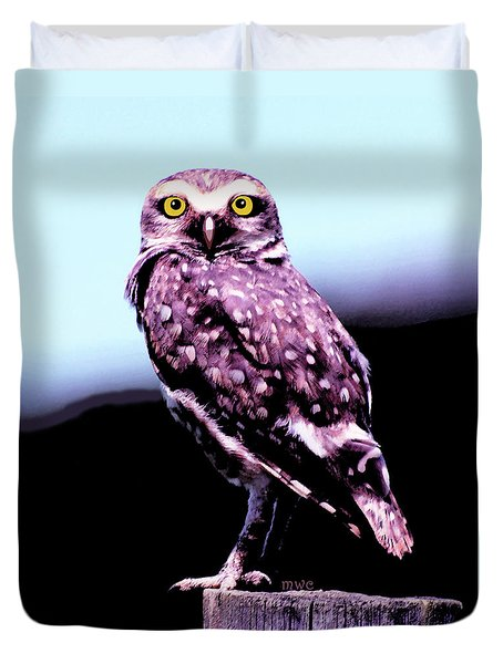 Duvet Cover featuring the painting Burrowing Owl by Marian Cates