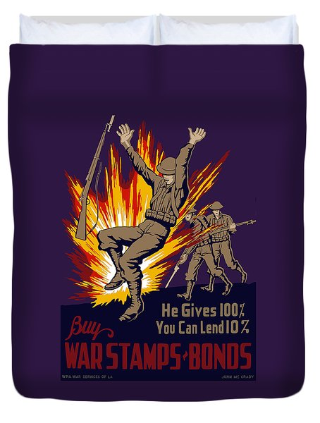 Buy War Stamps And Bonds Duvet Cover by War Is Hell Store