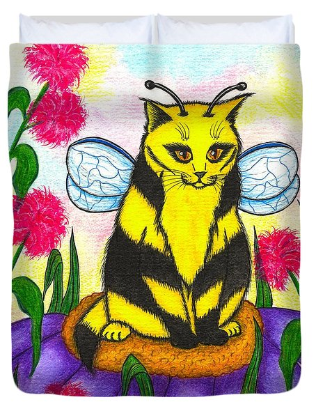 Duvet Cover featuring the painting Buzz Bumble Bee Fairy Cat by Carrie Hawks