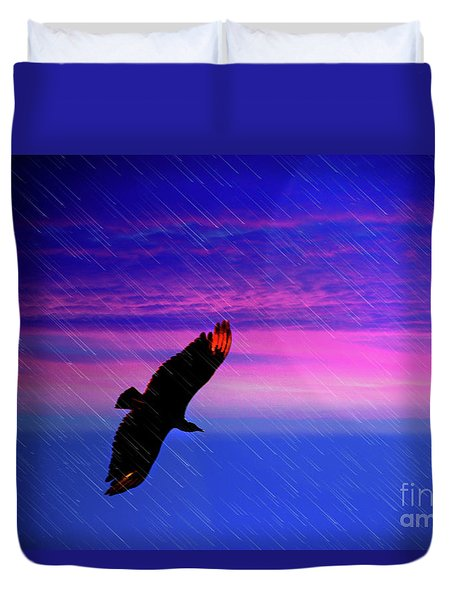 Buzzard In The Rain Duvet Cover by Al Bourassa