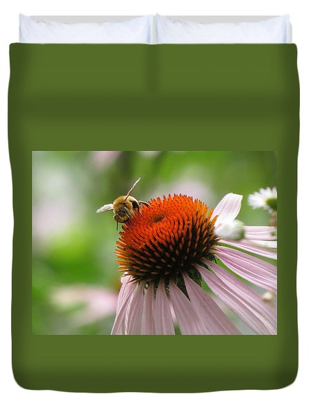 Buzzing The Coneflower Duvet Cover
