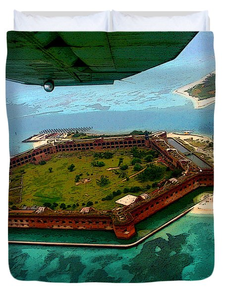 Buzzing The Dry Tortugas Duvet Cover