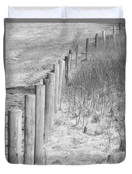 Bw Fence Line Duvet Cover by Erick Schmidt