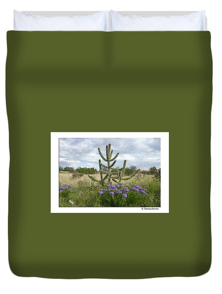 Duvet Cover featuring the photograph By The Cactus by R Thomas Berner