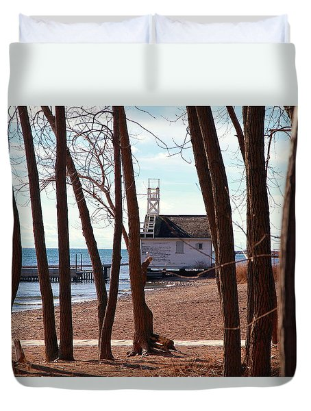 Duvet Cover featuring the photograph By The Lake by Valentino Visentini