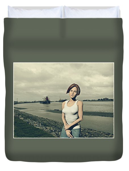 by the muddy Mississippi Duvet Cover