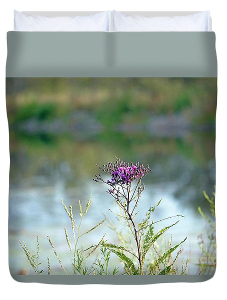 Duvet Cover featuring the photograph By The Pond by Lila Fisher-Wenzel