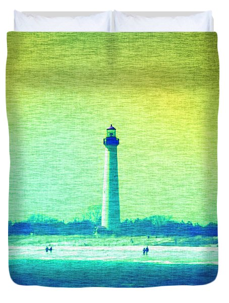 By The Sea - Cape May Lighthouse Duvet Cover by Bill Cannon
