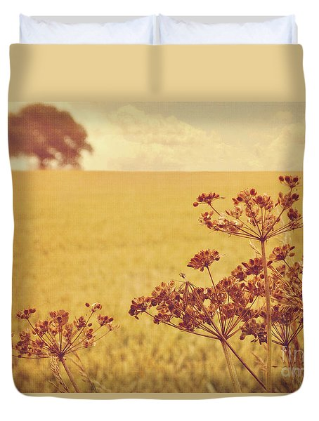 Duvet Cover featuring the photograph By The Side Of The Wheat Field by Lyn Randle