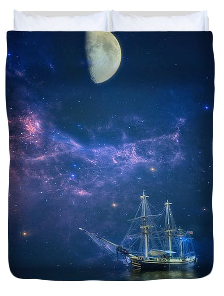 By Way Of The Moon And Stars Duvet Cover