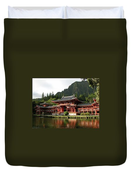 Duvet Cover featuring the photograph Byodo-in Temple, Oahu, Hawaii by Mark Czerniec