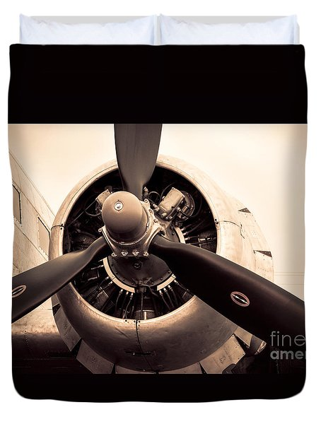 C-47 Engine Sepia Duvet Cover