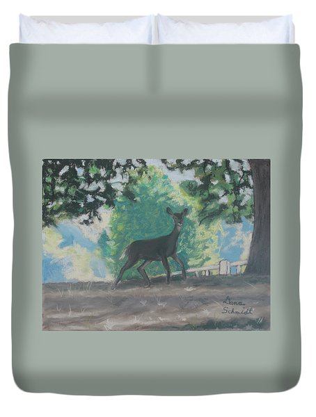 California Deer At Foothills Near Mountain View Duvet Cover
