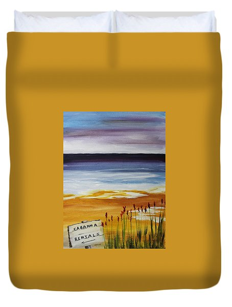Duvet Cover featuring the painting Cabana Rental by Jack G  Brauer