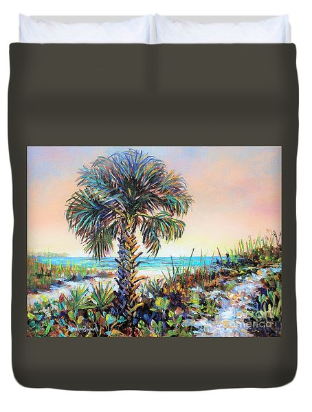 Cabbage Palm On Siesta Key Beach Duvet Cover