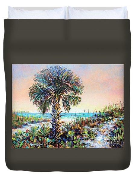 Cabbage Palm On Siesta Key Beach Duvet Cover by Lou Ann Bagnall