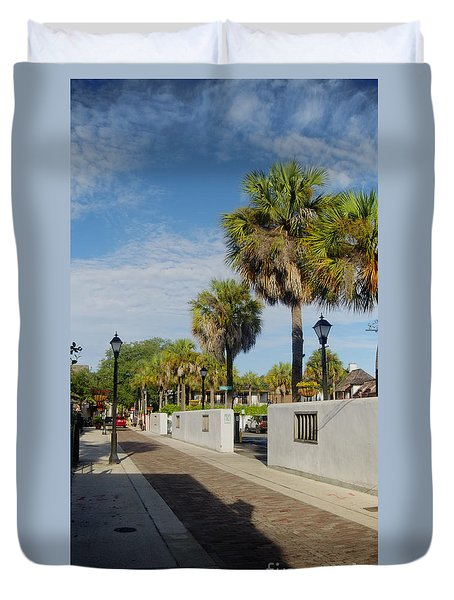 Cabbage Palms Along Hypolita Street Duvet Cover