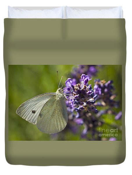 Duvet Cover featuring the photograph Cabbage White Butterfly by Inge Riis McDonald