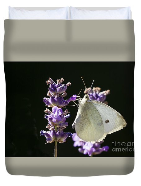 Duvet Cover featuring the photograph Cabbage White Butterfly On Lavender by Inge Riis McDonald