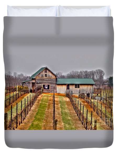 Cabin At Autumn Creek Vineyard Duvet Cover