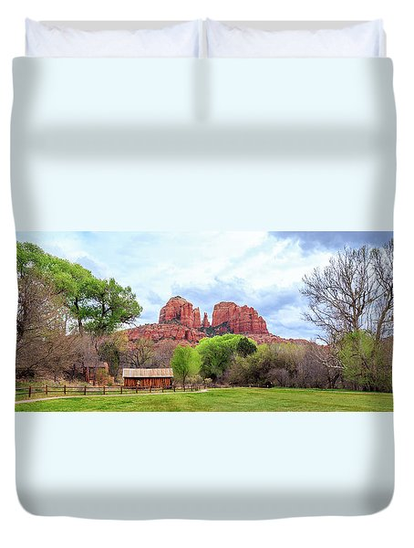 Duvet Cover featuring the photograph Cabin At Cathedral Rock Panorama by James Eddy