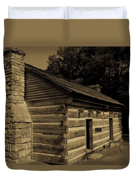 Duvet Cover featuring the photograph Cabin At The Hermitage by James L Bartlett