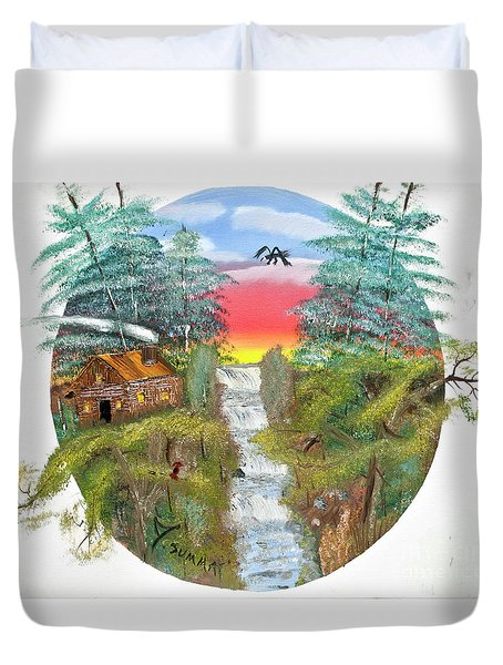 Cabin By The Falls Duvet Cover