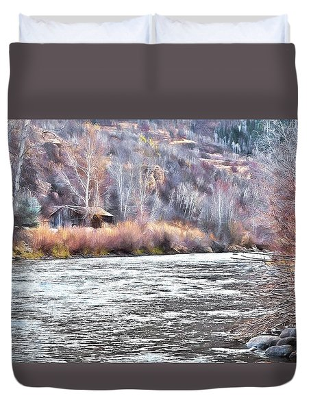 Cabin By The River In Steamboat,co Duvet Cover