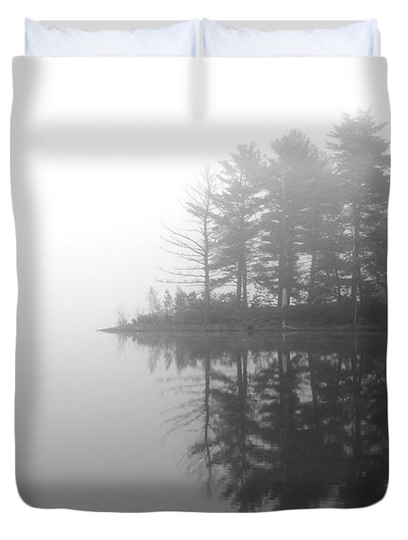 Cabin In The Foggy Woods Duvet Cover
