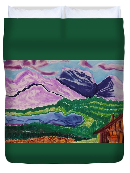 Cabin In The Mountains Duvet Cover