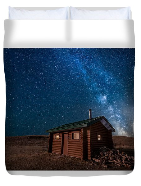 Cabin In The Night Duvet Cover