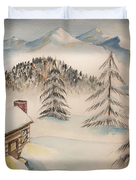 Cabin In The Rockies Duvet Cover