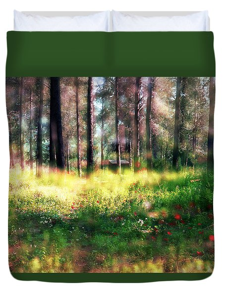 Duvet Cover featuring the photograph Cabin In The Woods In Menashe Forest by Dubi Roman