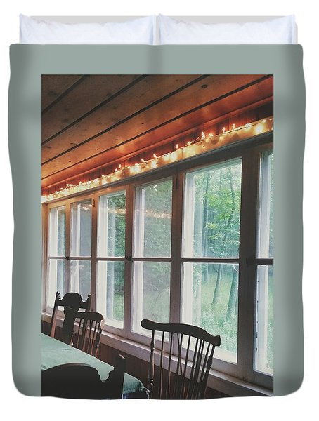 Duvet Cover featuring the photograph Cabin In The Woods by Nikki McInnes