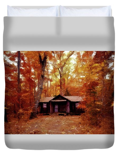 Duvet Cover featuring the painting Cabin In The Woods P D P by David Dehner