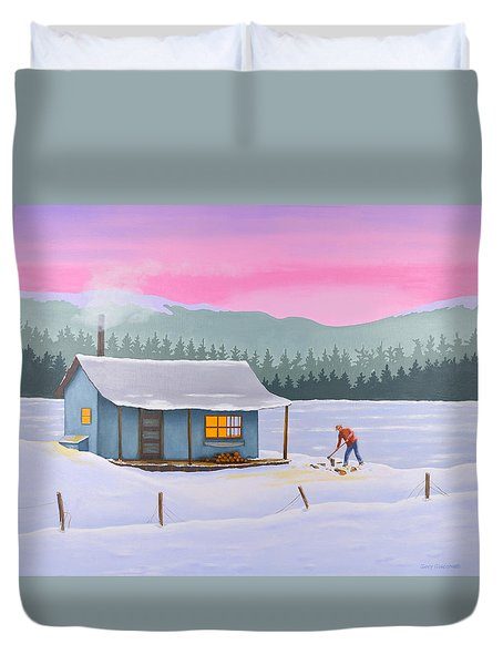 Cabin On A Frozen Lake Duvet Cover