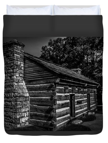 Duvet Cover featuring the photograph Cabin On The Grounds At The Hermitage by James L Bartlett