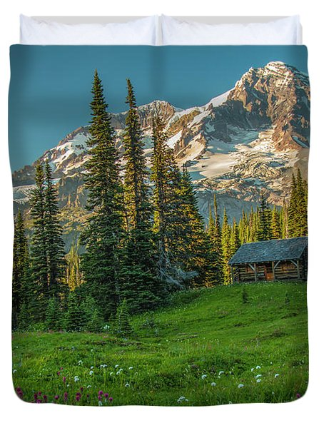 Cabin On The Hill Duvet Cover