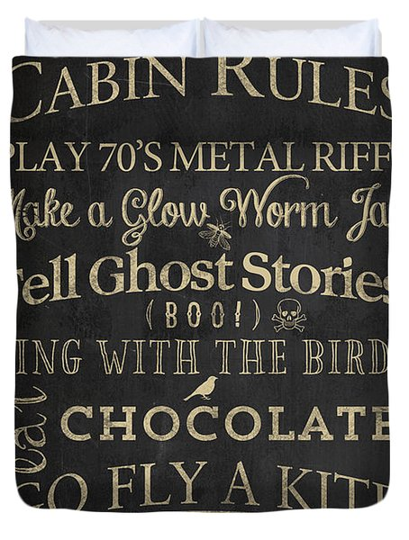 Cabin Rules II Duvet Cover