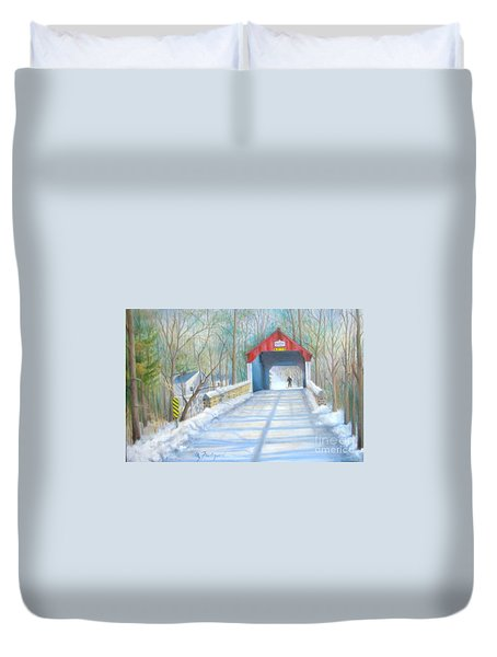 Cabin Run Bridge In Winter Duvet Cover