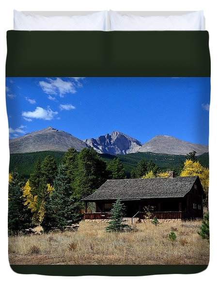 Cabin With A View Of Long's Peak Duvet Cover