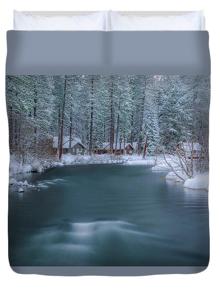 Duvet Cover featuring the photograph Cabins On The Metolius by Cat Connor